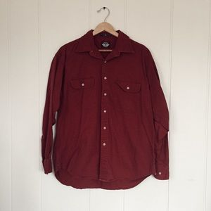 Dockers Long Sleeve Cotton Red Button Down Shirt